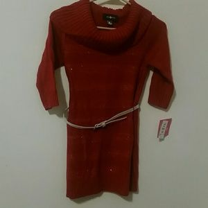 Amy Byer Red Sparkle Sweater Dress Size M